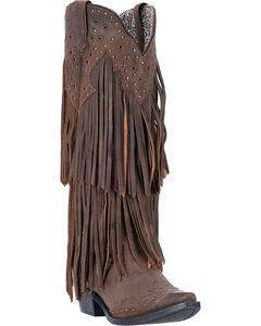 Laredo Brown Fringe Motion Cowgirl Boots - Snip Toe , Brown, hi-res