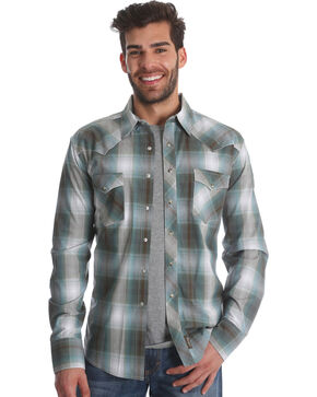 Wrangler Men's Teal Retro Long Sleeve Shirt - Tall, Beige/khaki, hi-res