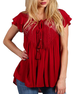 Shyanne Women's Red Crochet Lace Babydoll Top , Red, hi-res
