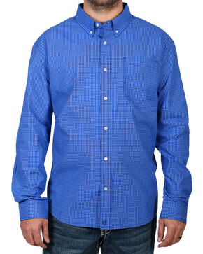 Cody James Men's Checkered Print Long Sleeve Shirt, Royal, hi-res