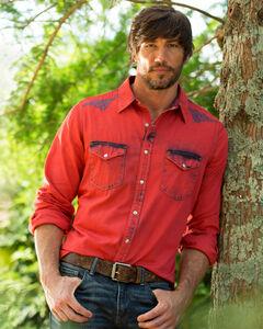 Ryan Michael Men's Red Embroidered Tinted Indigo Shirt, , hi-res