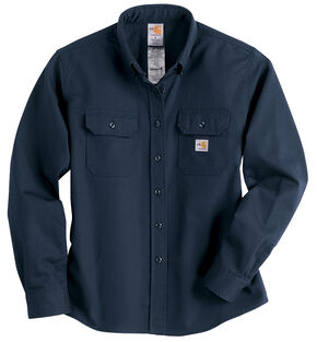 Carhartt Flame Resistant Twill Long Sleeve Top, Navy, hi-res