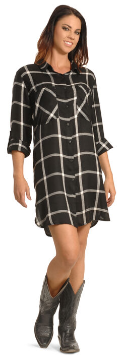 New Direction Women's Black Plaid Shirt Dress - Plus Sizes, , hi-res