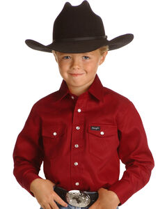 Wrangler Boys' Red Western Shirt - 2-20, , hi-res