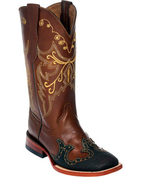 Ferrini Brown Wingtip Cowgirl Boots - Square Toe, Brown, hi-res