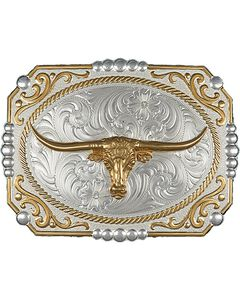 Montana Silversmiths Two-Tone Cowboy Cameo with Longhorn Buckle, , hi-res