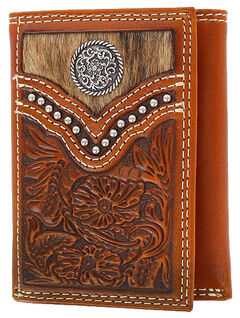 Cody James Men's Hair-on-Hide Tri-Fold Concho Leather Wallet, , hi-res