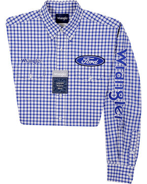 Wrangler Men's Long Sleeve Ford Logo Checkered Shirt, Blue, hi-res