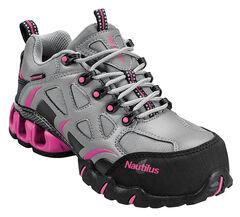 Nautilus Women's Grey and Pink Nylon Microfiber Athletic Work Shoes - Composite, , hi-res