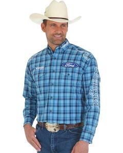 Wrangler Men's Ford Logo Blue Plaid Western Shirt, , hi-res
