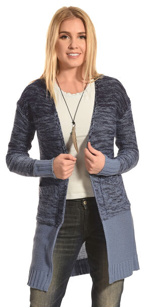 Derek Heart Women's Blue Marled Long Cardigan, Blue, hi-res