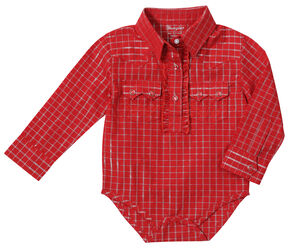 Wrangler Toddler Girls' Red Lurex Bodysuit, Red, hi-res