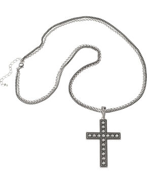Wrangler Rock 47 Pins & Needles Rhinestone Cross Necklace, Silver, hi-res
