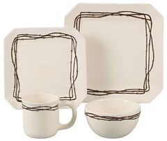 HiEnd Accents Barbed Wire Dinnerware Set - 16 piece, , hi-res