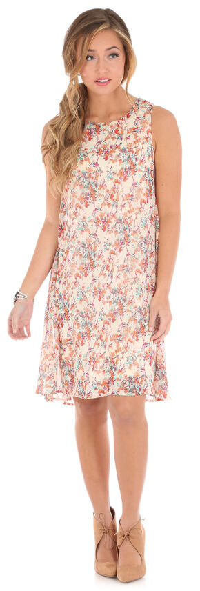 Wrangler Women's Sleeveless Floral Print Keyhole Dress, Ivory, hi-res