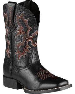 Ariat Youth Boys' Tombstone Black Deertan Cowboy Boots, , hi-res