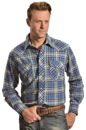 Wrangler Men's Blue Plaid Flannel Shirt, Blue, hi-res