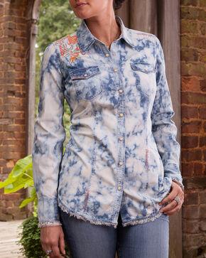 Ryan Michael Women's Embroidered Tie Dye Shirt, Denim, hi-res