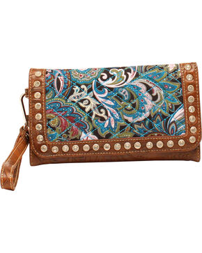 Blazin Roxx Quilted Paisley Wallet, Turquoise, hi-res