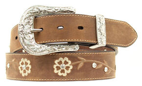 Ariat Floral Embroidered Rhinestone Belt, Brown, hi-res