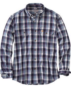 Carhartt Men's Blue Fort Plaid Long-Sleeve Shirt - Tall , Steel Blue, hi-res