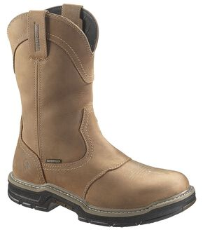 Wolverine Anthem Waterproof Pull-On Work Boots - Round Toe, Brown, hi-res