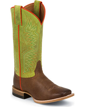 Justin Boys' Luckenbach Lime Bent Rail Cowboy Boots - Square Toe, Tan, hi-res