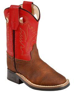 Old West Toddler Boys' Orange Cowboy Boots - Square Toe, , hi-res