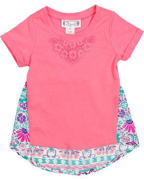 Shyanne Girl's Short Sleeve Floral Back Tee , Coral, hi-res