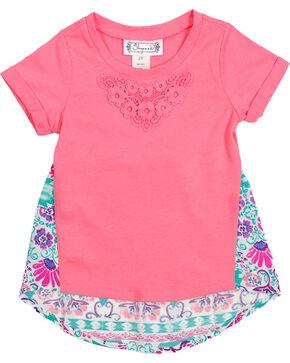 Shyanne Girl's Short Sleeve Floral Back Tee , Coral, hi-res
