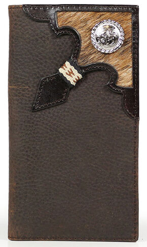 Cody James Men's Cowhide Rodeo Checkbook Wallet, Brown, hi-res