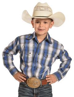Crazy Cowboy Boys' Blue/White Plaid Shirt - 4-7, , hi-res
