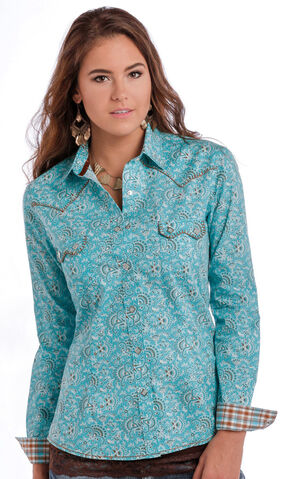 Panhandle Slim Women's Turquoise Rough Stock Ekalaka Vintage Print Shirt, Turquoise, hi-res