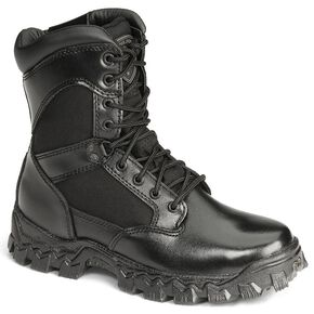 "Rocky 8"" AlphaForce Zipper Waterproof Duty Boots, Black, hi-res"