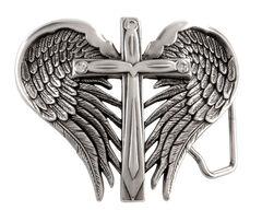 Nocona Cross & Wings Buckle, , hi-res
