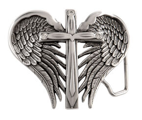 Nocona Cross & Wings Buckle, Silver, hi-res