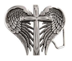 Nocona Cross & Wings Buckle, Silver, hi-res
