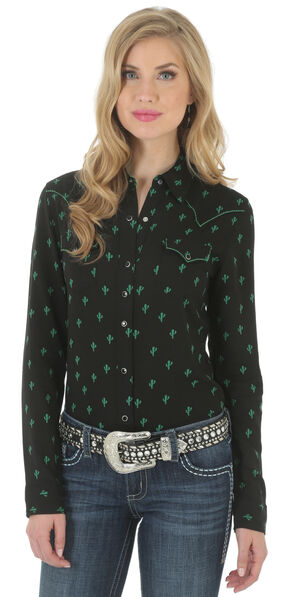 Wrangler Rock 47 Women's Cactus Print Shirt, Black, hi-res