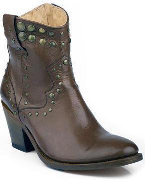 Stetson Chocolate Studded Short Cowgirl Boots - Medium Toe, Chocolate, hi-res