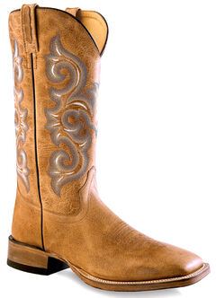 Old West Men's Golden Tan Western Boots - Square Toe , , hi-res