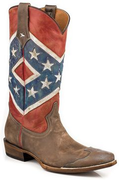 Roper Distressed Rebel Flag Cowgirl Boots - Snip Toe, , hi-res