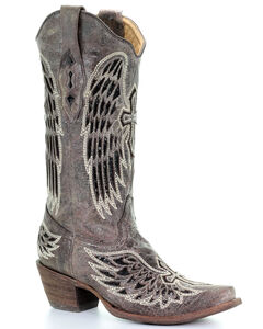 Corral Distressed Black Sequin Cross & Wing Inlay Cowgirl Boots - Snip Toe, , hi-res