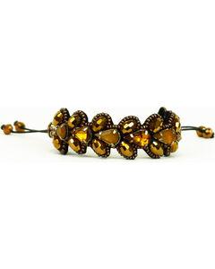 Pink Pewter Gold Beaded Drawstring Bracelet, , hi-res