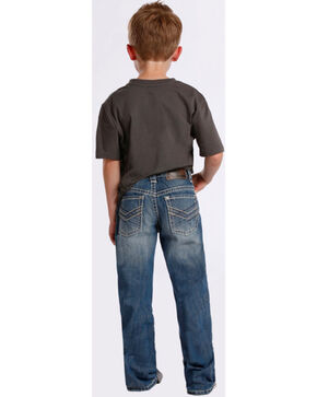 Rock & Roll Cowboy Boys' Abstract Stitch Bootcut Jeans, Denim, hi-res