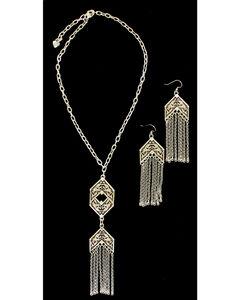 Blazin Roxx Chain Fringe Necklace & Earrings Set, , hi-res