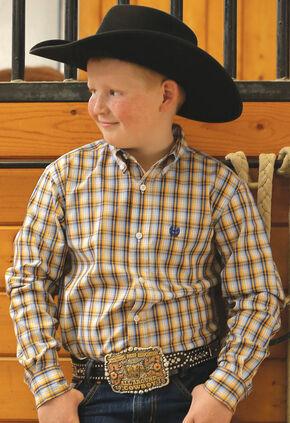 Cinch Boy's Blue Plaid Long Sleeve Western Shirt, Blue, hi-res