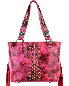 Montana West Pink Fringe Collection Concealed Handgun Handbag, , hi-res