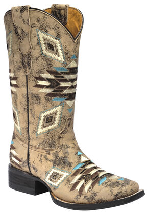 Corral Girls' Aztec Pattern Cowgirl Boots - Square Toe, Brown, hi-res