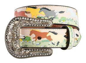 Nocona Girls' Running Horse Print Belt - 20-28, Multi, hi-res