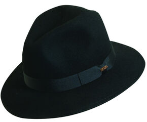Scala Men's Black Wool Felt Safari Hat, Black, hi-res